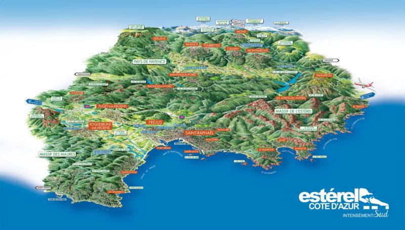 carte du territoire Esterel cote d'azur